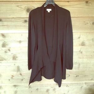 Black Front Draped Tapered Back Cardigan. Sz XL